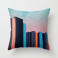 skyline Throw Pillows featuring Skyline by Nope
