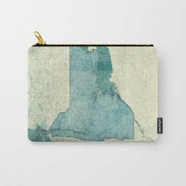 New York State Map Blue Vintage Carry-All Pouch