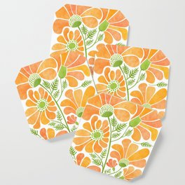 Happy California Poppies / hand drawn flowers Coaster
