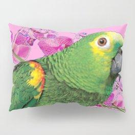 PINK TROPICAL GREEN PARROT & FUCHSIA ORCHIDS  ART Pillow Sham