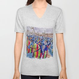 Medieval Army in Battle Unisex V-Neck