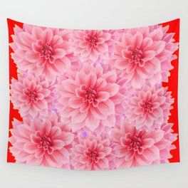 PINK DAHLIA FLOWERS IN RED COLOR ART Wall Tapestry