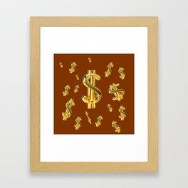 FLOATING GOLDEN DOLLARS  IN COFFEE BROWN DESIGN Framed Art Print