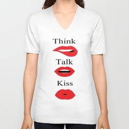 Red lipstick lips makeup, three monkeys fashion illustration  Unisex V-Neck