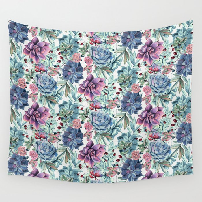 Succulent Pattern Wall Tapestry