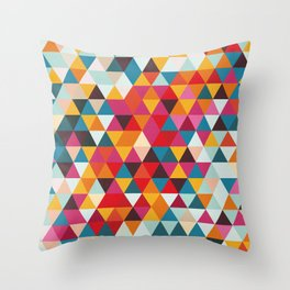 Vintage Summer Color Palette - Hipster Geometric Triangle Pattern Throw Pillow