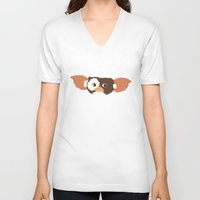 gizmo V-neck T-shirts featuring gizmo by elvia montemayor