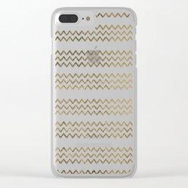 Elegant faux gold white chevron zigzag geometrical pattern Clear iPhone Case