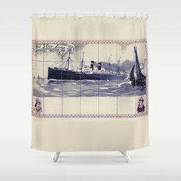 Red Star Line Antwerp New York Delft blue style Shower Curtain
