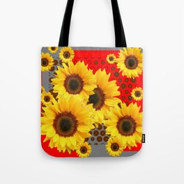 RED-YELLOW SUNFLOWERS GREY ABSTRACT Tote Bag