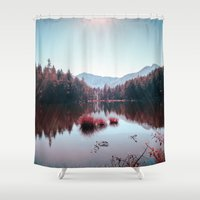 buddhism Shower Curtains featuring Winter Lake by Schwebewesen • Romina Lutz