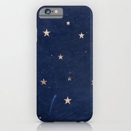 Good night - Leaf Gold Stars on Dark Blue Background iPhone Case