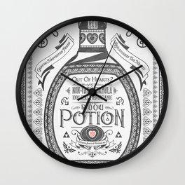 Legend of Zelda Red Potion Vintage Hyrule Line Work Letterpress Wall Clock