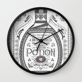 Legend of Zelda Red Potion Vintage Hyrule Line Work Letterpress Wall Clock