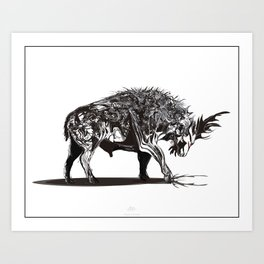 Ramming 1. Black and white background. Art Print