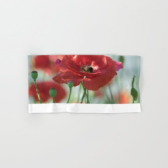 Red poppy Art Hand & Bath Towel