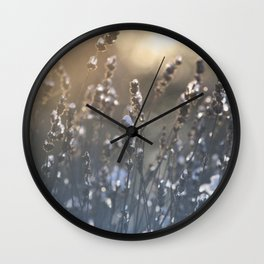 Icy Lavender Blooms Winter Sunrise Wall Clock