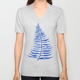 Navy Palm Leaf Unisex V-Neck