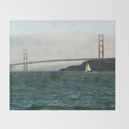 Sailing Under the Golden Gate Bridge Photography Print Throw Blanket