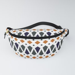 Abstract Geo Print in Burnt Orange, Charcoal and Navy Fanny Pack