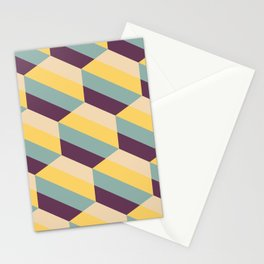 Striped Hexagons Stationery Cards
