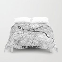 Pittsburgh Map Gray Duvet Cover