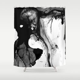 Soft Black Marble Shower Curtain