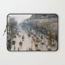"""Camille Pissarro """"The Boulevard Montmartre on a Winter Morning"""" Laptop Sleeve"""