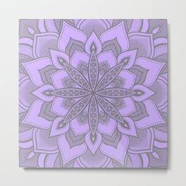 Purple Gray Flower Mandala Metal Print
