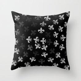 Black and White Fleur-Di-Lis Throw Pillow