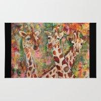 giraffes Area & Throw Rugs featuring Giraffes by Peggy Krantz Art