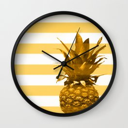 Pineapple with yellow stripes - summer feeling Wall Clock