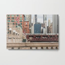 Wells Street Bridge - Chicago Photography Metal Print