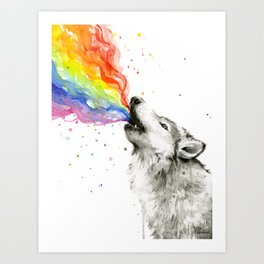 Wolf Howling Rainbow Watercolor Art Print