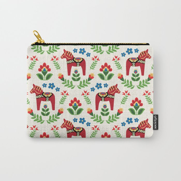 Swedish Dala Horses Red Carry-All Pouch