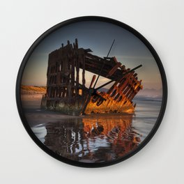 Shipwreck at Sunset Wall Clock