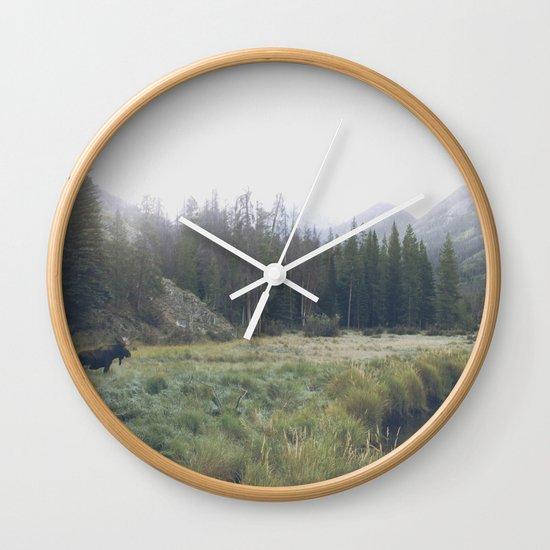 Morning Meadow Moose Wall Clock