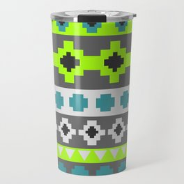 Bright tribal stripes in green and blue Travel Mug