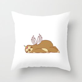 Perfect Sloth Gift Tee With An Illustration Of A Unicorn T-shirt Design Magical Mythical Colorful Throw Pillow