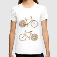 preppy T-shirts featuring Whimsical cute girly floral retro bicycle by Girly Trend