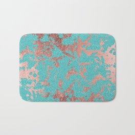 Modern turquoise glitter faux rose gold marble Bath Mat