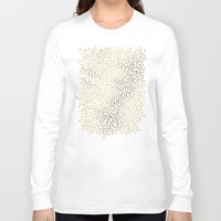 silver Long Sleeve T-shirts featuring Gold Berry Branches on Navy by Cat Coquillette
