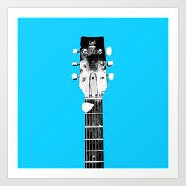 Guitar - Head, Blue Background Art Print