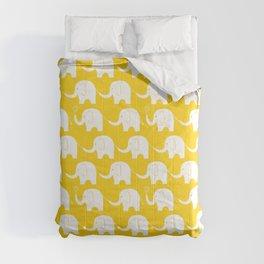 Elephant Parade on Yellow Comforters