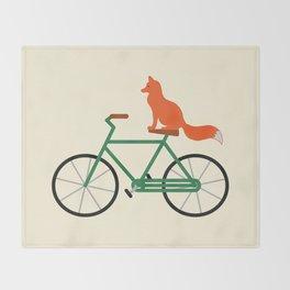 Fox Riding Bike Throw Blanket