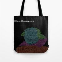 shakespeare Tote Bags featuring William Shakespeare by Jamie Carroll