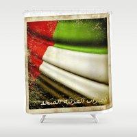 arab Shower Curtains featuring Grunge sticker of United Arab Emirates flag by Lulla