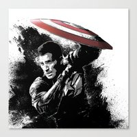 steve rogers Canvas Prints featuring Steve Rogers: Shadow Edition by NKlein Design