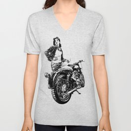 Woman Motorcycle Rider Unisex V-Neck
