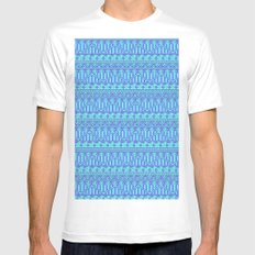 Aztec duo color blue pattern MEDIUM Mens Fitted Tee White